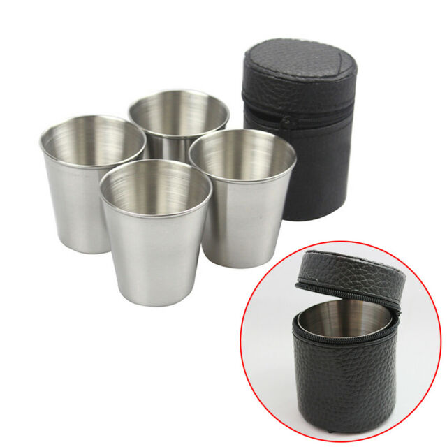 4Pcs//set Stainless Steel Folding Cup Outdoor Camping Picnic Drinking Beer Mug
