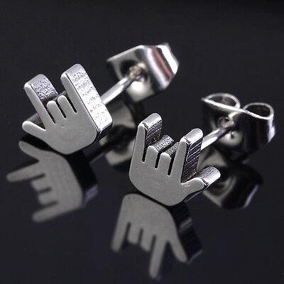 Pair Cool Stainless Steel Metallic Silvery Rock Gesture Ear Stud Men's Earrings