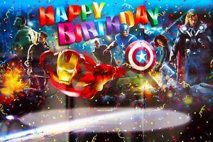 AVENGERS SUPERHEROES IRON MAN HULK HAPPY BIRTHDAY POSTERBANNER