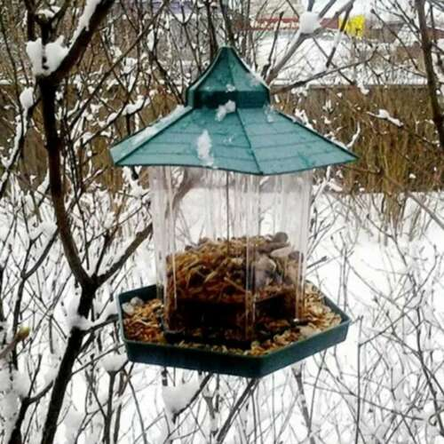 Hanging Wild Bird Feeder Garden Gazebo Waterproof Outdoor Feeding Villa Decor PO