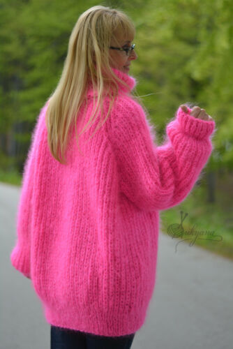 Dukyana One Knitted Tneck Pullover Size Jumper Sweater Fuzzy Hand Mohair Thick PPwr1q