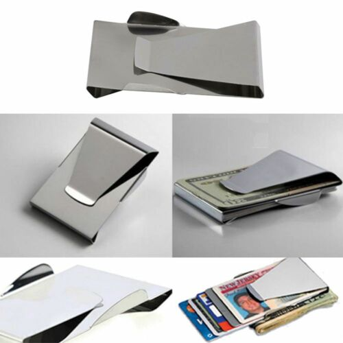 Dollar Clamp ID Credit Double Sided Stainless Steel Money Clip Slim Wallet