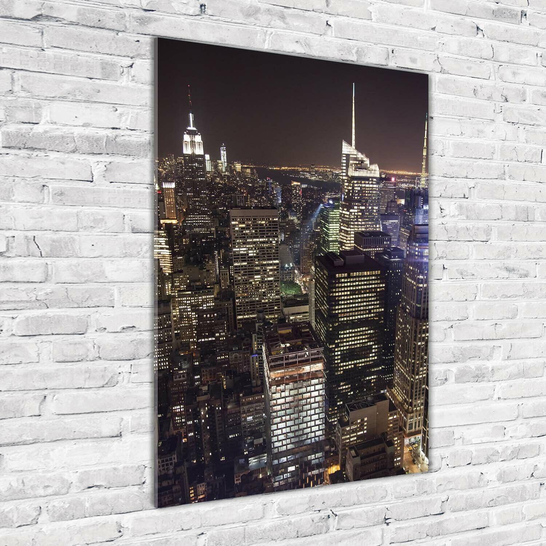 Wand-Bild Kunstdruck aus Acryl-Glas Hochformat 70x100 New York bei Nacht