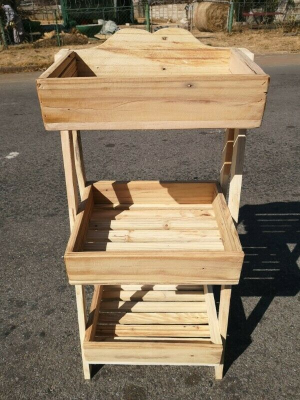 3 Shelf Vegetable Rack (total height 80 cm) ideal to stain, varnish or paint R150 each……..