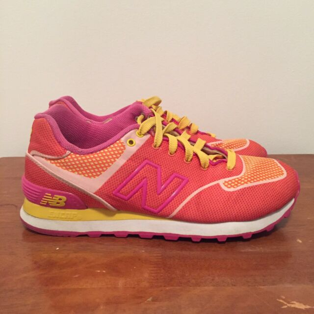 new arrival 2e7fe 8ab14 New Balance 574 Elite Womens Running Sneakers Shoes Pink Orange Yellow US 7  UK 5