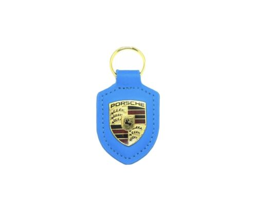 Blue Porsche Leather Crest Key Fob Keyring Chain Ring Emblem NEW in Plastic!