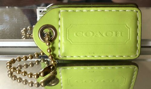 """2.5"""" LARGE COACH LIME GREEN LEATHER KEY FOB BAG CH"""