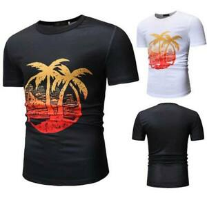 Summer-short-sleeve-o-neck-men-039-s-muscle-tee-casual-t-shirt-slim-fit-t-shirts