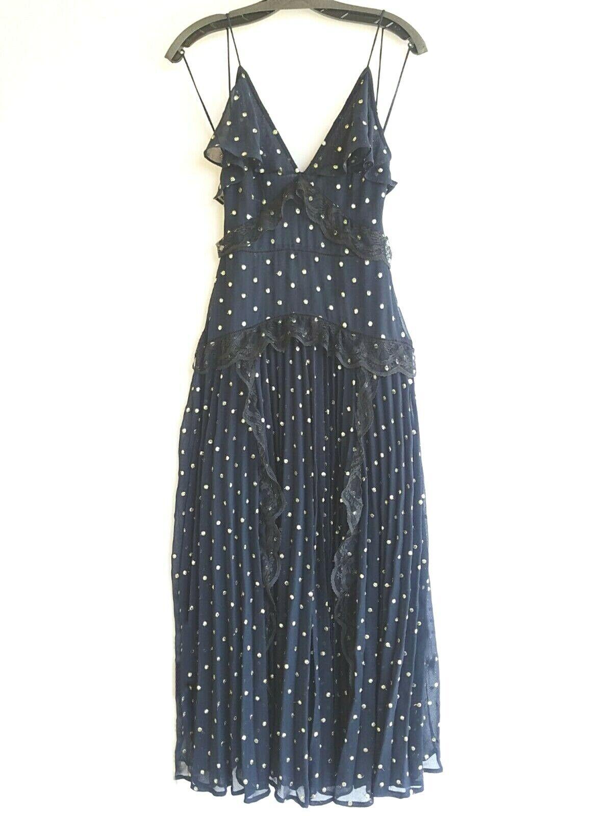 ny TopShop Lace Metallic Thread Pleat blå Maxi Dress Storlek  U.S. 0