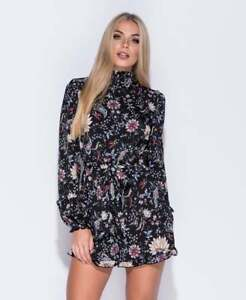 1c231ccf48 Image is loading Womens-New-Black-Floral-High-Neck-Playsuit