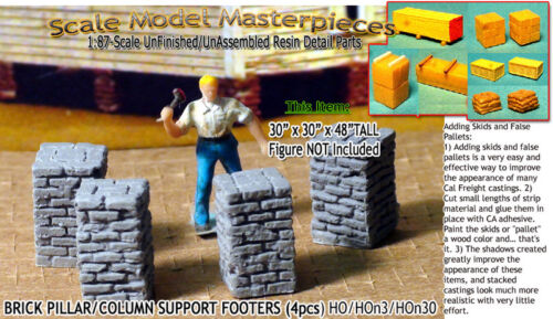 Scale Model Masterpieces/Yorke Brick Pillar/Column Support Footers (4pcs-Lg) HO