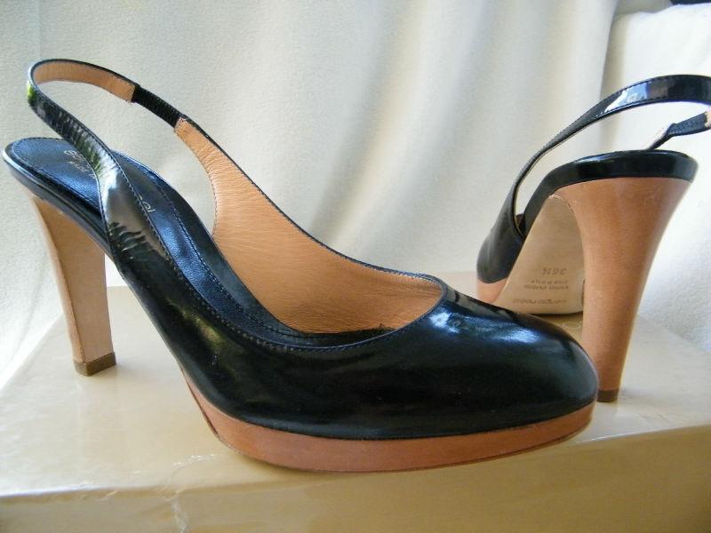 SERGIO ROSSI SHOES heels slingback platform platform slingback wooden heel 36.5 6.5 ddd273