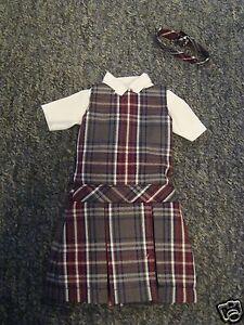 *NIP* 3 pc SCHOOL UNIFORM Dress Jumper Outfit Clothes fits Barbie doll PLAID #65