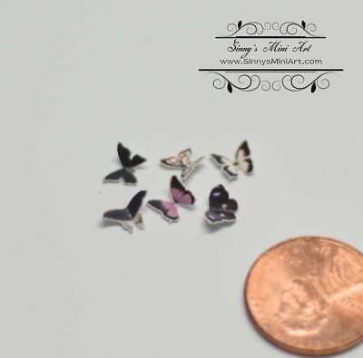 1:12 Dollhouse Miniature set of 6 Black Butterflies BD MW013