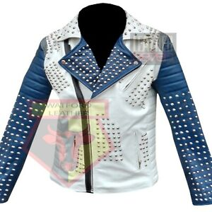 AMERICAN-WESTERN-MOTORCYCLE-STYLE-1063-WHITE-STUDDED-COWHIDE-LEATHER-JACKET
