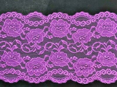 """laverslace Pale Gold Wide Floral Rose Stretch Lace Trim 6/""""//15cm Lingerie Clothes"""