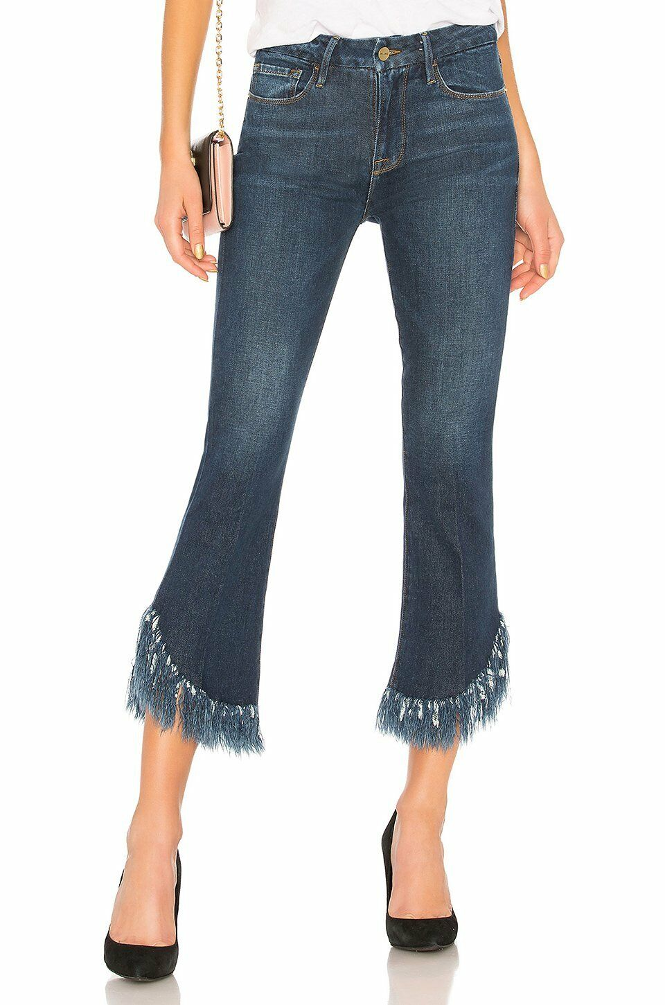 FRAME Le Crop Mini Boot Shredded Crop Hem Jeans Bayberry NEW WITH TAGS