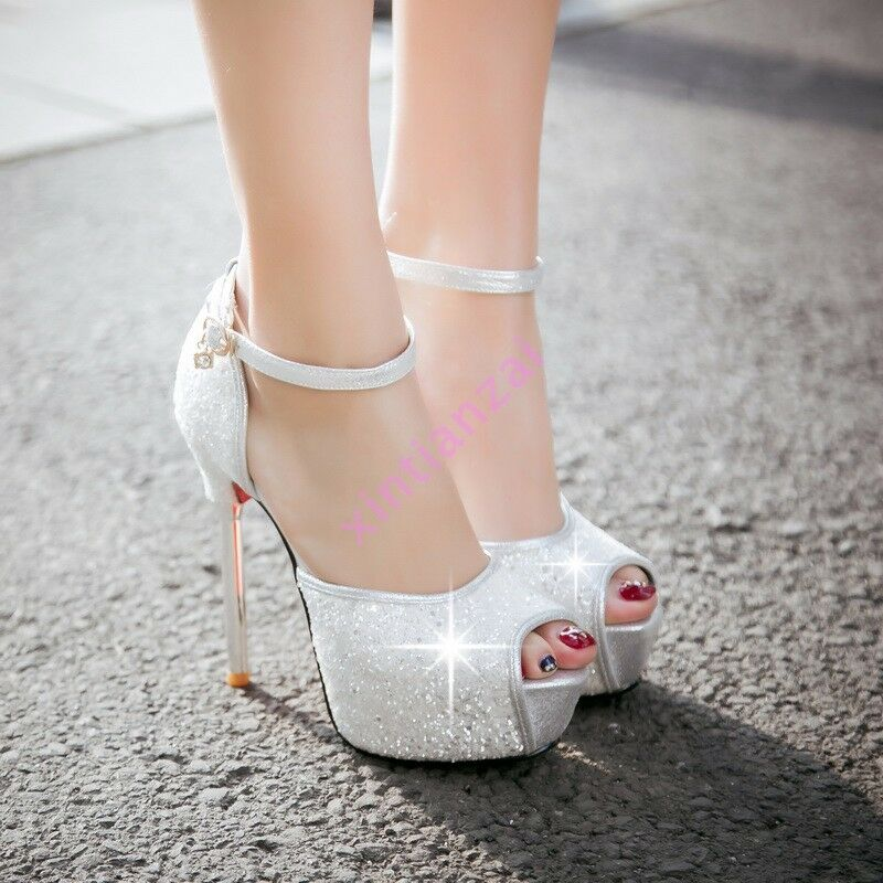 Womens Hot Open Toe Platform High Heels Ankle Strap Sequins Bling shoes Wedding