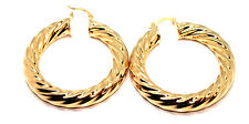 PAIR GIFT 18CT REAL YELLOW GOLD FILLED TWIST CREOLE EAR HOOP EARRINGS JEWELRY