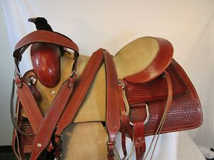 HAND MADE LEATHER ROPING WESTERN SADDLE RANCH ROPER SADDLE 15 16 17 USED TACK