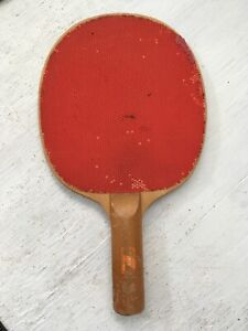 Details About Vintage Sears Ping Pong Paddle Wood W Red Tlc