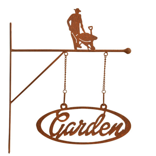 """/"""" GARTENSCHILD GARDEN /"""" 3 MOTIVE EDELROST SCHILD AUSLEGER ROST GARTEN WILLKOMMEN"""
