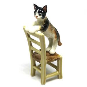 Porcelain Black Cat Figurine Handmade Dollhouse Miniatures Ceramic