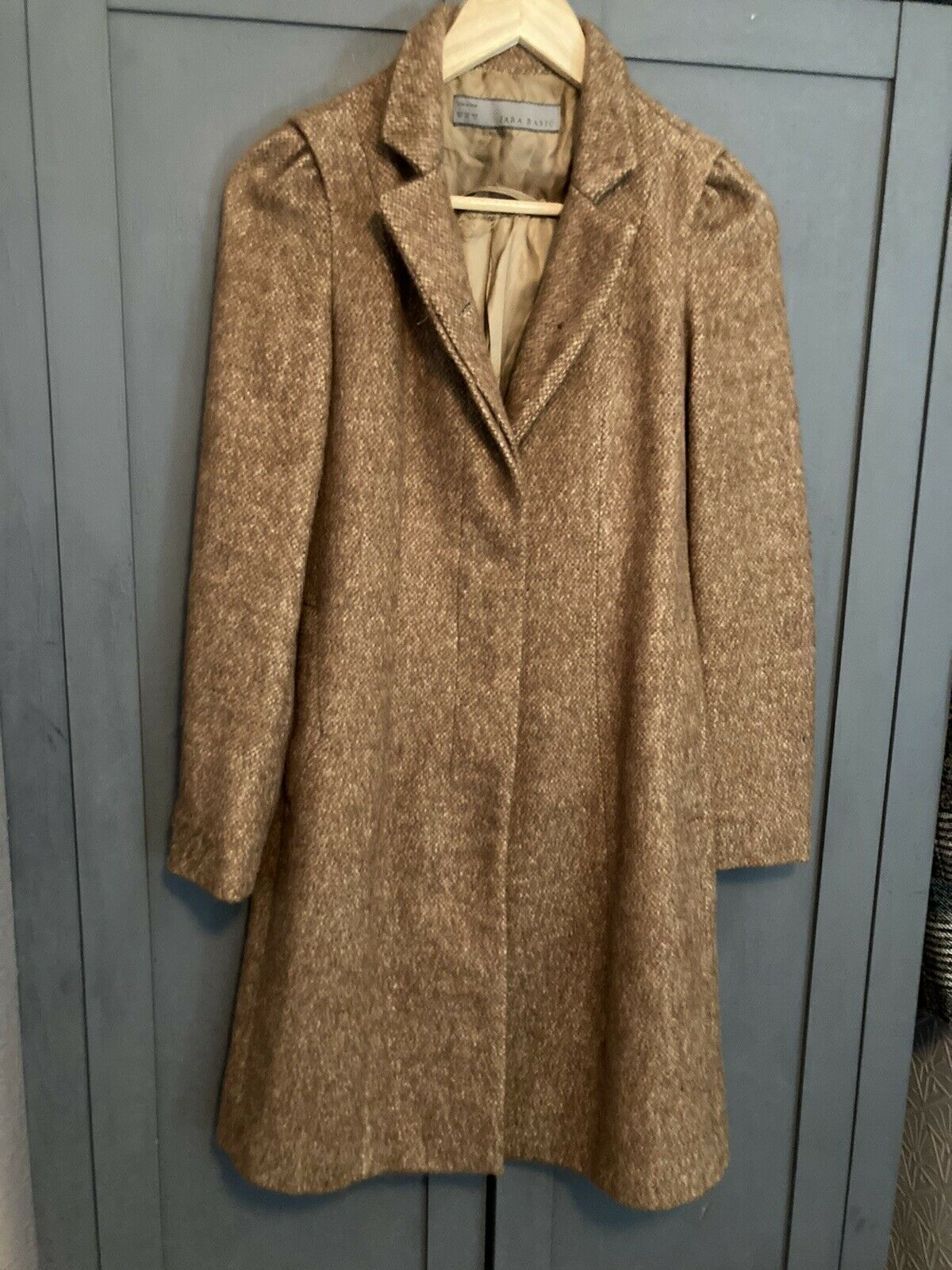 Lovely Zara Brown Fitted Mohair Feel Autumn Long Coat With Pockets Size 8- 10 XS