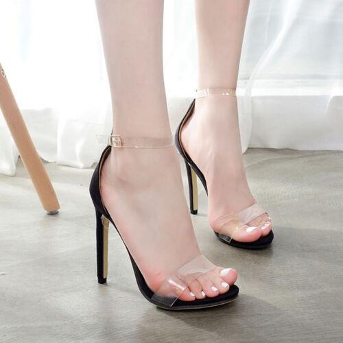 Women Transparent Open Toe Ankle Strap Stilettos High Heels Pump Sandal Summer F