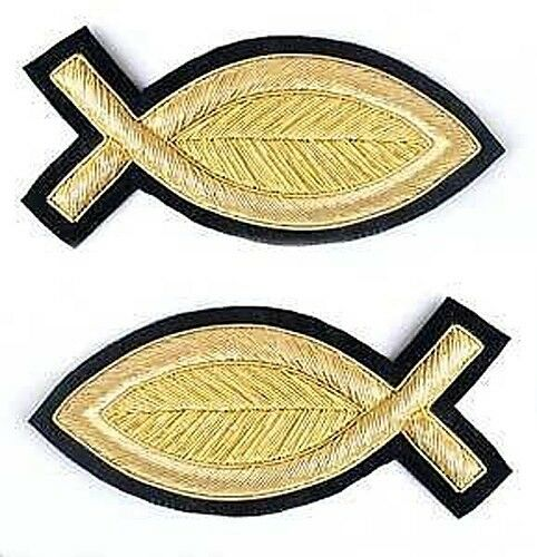 2 HandEmbroidered, Gold, Bullion Appliques. Fish. 3¾""