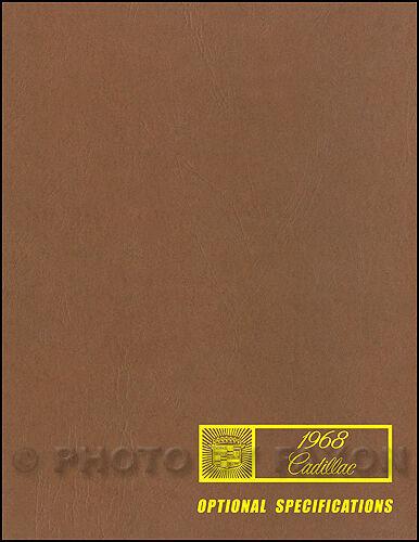 1968 Cadillac Optional Specifications Book 68 Deville Eldorado Calais Fleetwood