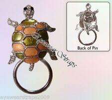 NEW Eye Glasses / Spectacle Hanger Rhinestone Tortoise Brooch Pin Holder
