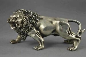 Collectible-Decoration-Old-Miao-Silver-Carve-Fierce-lion-Statue