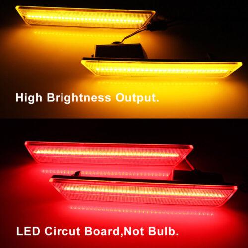 Smoked Front Amber Rear Side Marker Lamps LED Lights For 08-14 Dodge Challenger