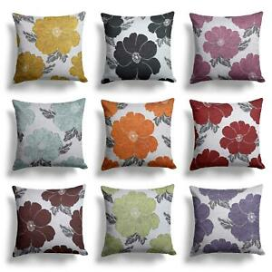 Chenille-Cushion-Cover-Floral-Reversible-Thick-Cushions-Covers-18-034-22-034-9-Colours