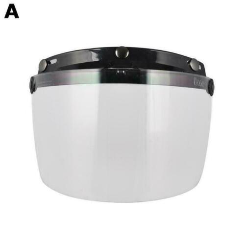 Open Face Helmet Bubble Visor 3//4  Helmets Len 3-Snap  Motorcycle