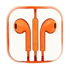 New Orange Colour Headphones Earphone Handsfree With Mic For iPhone Models
