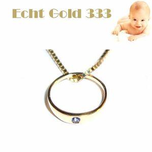 Set Taufring Kristall blau & Kette Taufschmuck Gold 333