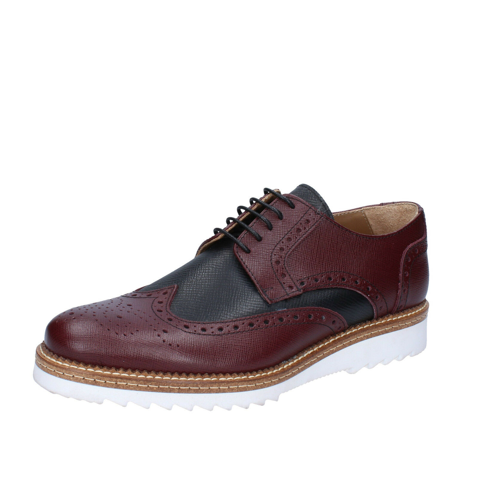 Men's shoes FDF SHOES 12 (EU 45) elegant black burgundy leather BZ370-45