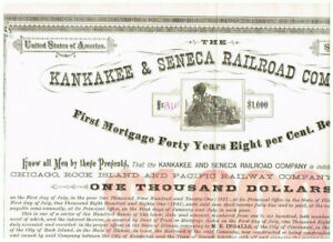 Kankakee & Seneca RR Co., 1881, COX KAN-166-B-50, VF