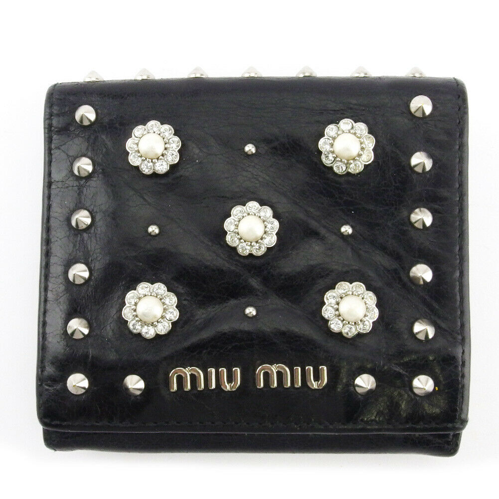 miu miu wallets studded leather Auth used T18782
