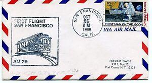 Dynamique Ffc 1969 First Flight San Francisco Port Crane New York Via Air Mail