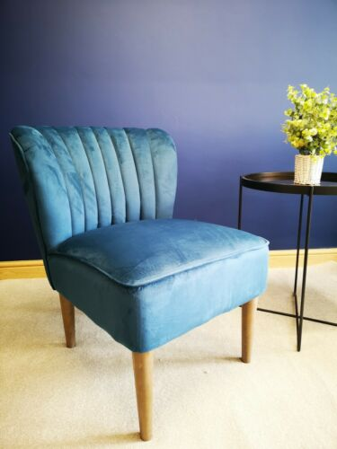 Crushed Velvet Blue Accent Chair - Fabric Dining Chair - Occasional Bedroom Seat