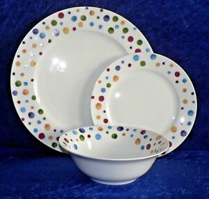 Image is loading Spots-dinner-plates-set-Fine-bone-china-dinner- & Spots dinner plates set. Fine bone china dinner plate side plate ...