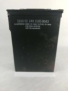 Vintage-Ammo-Can-Box-US-Army-8-cartridge-60mm-he-m888-w-fuze-pd-m935-Mortar-Tube