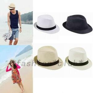 Image is loading Wide-Brim-Panama-Straw-Cap-Summer-Beach-Fashion- 540273b87294