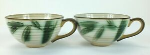 Vintage-SHOWA-STONE-WARE-Hand-Crafted-Bamboo-Cups-Mugs-Made-in-Japan-Lot-of-2
