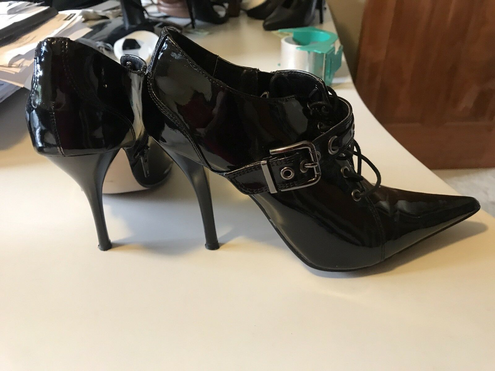 "Anne Michelle Black Patent  4"" Stiletto Heel Ankle Booties Sz 7"