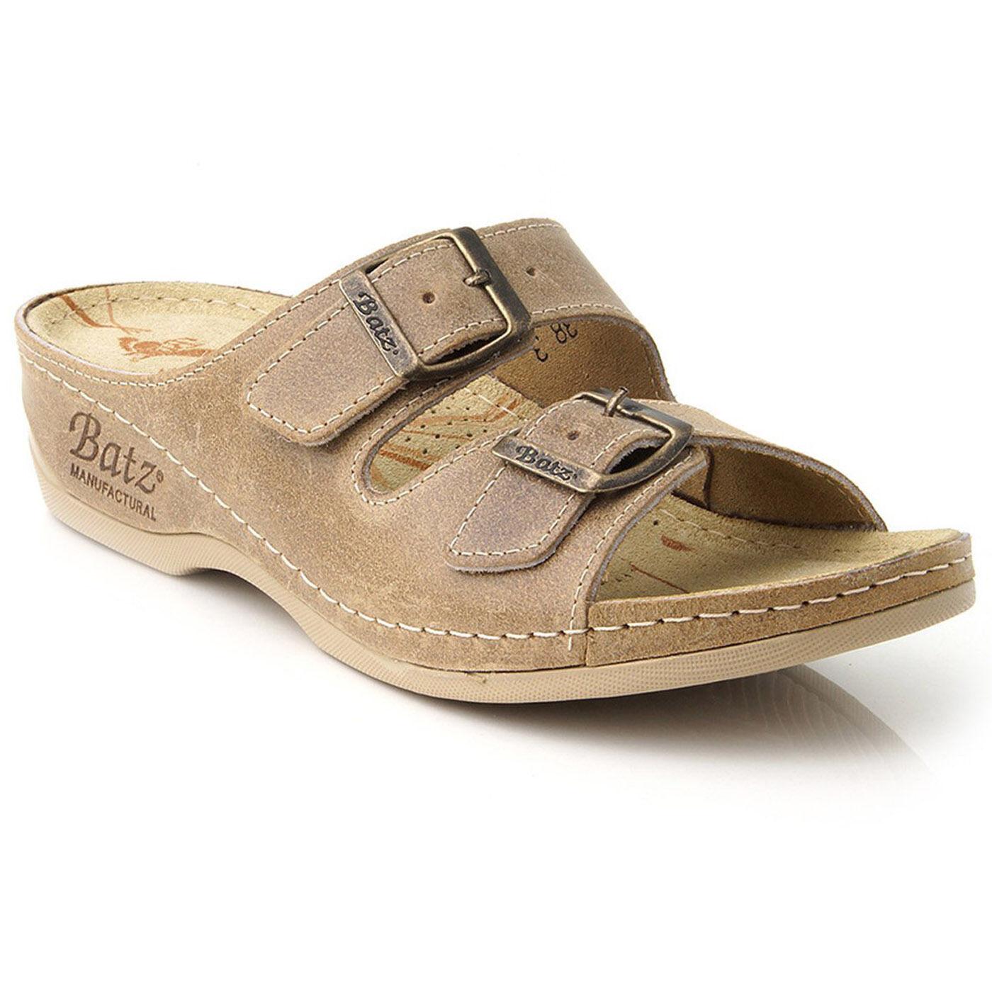 feuillet de cuir beige sur batz fc02 sandales à sabots chers mules femmes chers sabots royaume - uni ca8dd4