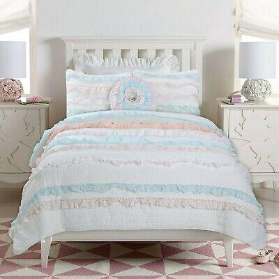 Devers Ruffle Lace Cotton 100 Cotton Quilt Set Bedspread Coverlet Ebay